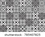 tile black and white azulejo... | Shutterstock .eps vector #785407825