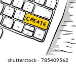 sketch of the computer keyboard ... | Shutterstock .eps vector #785409562