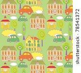 cute cartoon city. seamless... | Shutterstock .eps vector #78541372