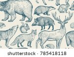 Stock vector forest animals seamless pattern deer wolf fox boar squirrel bear hare hedgehog and badger 785418118