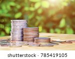 stack of coins with burred... | Shutterstock . vector #785419105