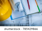 safety hard hat checked... | Shutterstock . vector #785429866