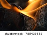 flames burning a charred piece... | Shutterstock . vector #785439556