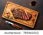 grilled black angus steak and a ... | Shutterstock . vector #785461012