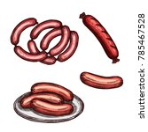 meat sausage on plate sketch.... | Shutterstock .eps vector #785467528