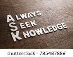 Small photo of Ask Acronym (Always Seek Knowledge) wood letters on wood texture