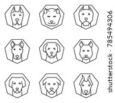 straight line icon set dog head ... | Shutterstock .eps vector #785494306