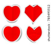 red heart paper stickers with...   Shutterstock .eps vector #785495512