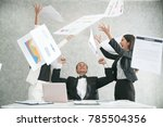 excited businessare throwing... | Shutterstock . vector #785504356