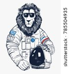 Lion Astronaut  Hand Drawn...