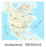 download description outline vector map of north america with borders of usa canada and mexico
