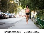 slim running woman with... | Shutterstock . vector #785518852