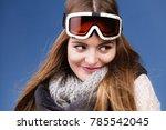 woman skier girl wearing warm... | Shutterstock . vector #785542045