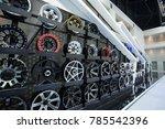 car max wheel background... | Shutterstock . vector #785542396