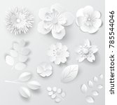 paper art isolated flowers. set ... | Shutterstock .eps vector #785544046