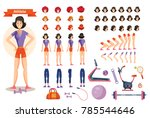 young smiling woman athlete in... | Shutterstock .eps vector #785544646