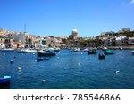 colorful harbor in malta | Shutterstock . vector #785546866