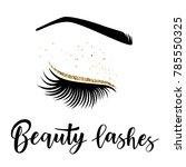 lashes lettering. vector... | Shutterstock .eps vector #785550325
