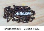 clove block letters in...   Shutterstock . vector #785554132