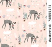 seamless pattern with deers ... | Shutterstock .eps vector #785558878
