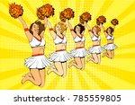 young cheerleader girls jumping ... | Shutterstock .eps vector #785559805