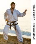 young guy training karate poses ... | Shutterstock . vector #785565988
