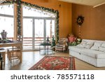 Wooden Cottage Interior With...
