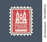 rectangular postage stamp with... | Shutterstock .eps vector #785580022
