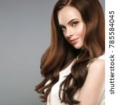 beautiful shine hair woman with ... | Shutterstock . vector #785584045