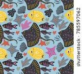 vector handdrawn sea seamless... | Shutterstock .eps vector #785597062