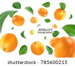 flying apricot. realistic 3d ... | Shutterstock . vector #785600215
