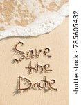 save the date handwritten on... | Shutterstock . vector #785605432