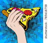 pop art young woman eating... | Shutterstock .eps vector #785618758