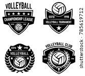 set of volleyball sport emblems
