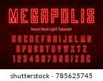 megapolis neon light alphabet ... | Shutterstock .eps vector #785625745