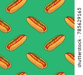 pop and colorful hotdogs... | Shutterstock .eps vector #785629165
