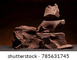 dark chocolate  chunks isolated ... | Shutterstock . vector #785631745