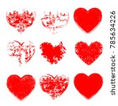 set of hearts . grunge stamps... | Shutterstock .eps vector #785634226
