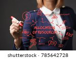 business girl writes a red... | Shutterstock . vector #785642728