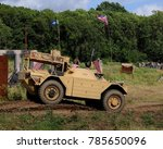 Small photo of Hop Farm, Kent / UK - 07/27/17: Daimler-built Ferret scout car at 2017 War and Peace Revival.