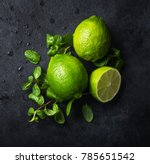 fresh green lime and mint on... | Shutterstock . vector #785651542
