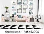 pink blanket lying on a cozy... | Shutterstock . vector #785653306