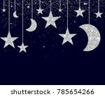 silver glitter background with... | Shutterstock .eps vector #785654266