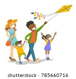 happy multiethnic family with... | Shutterstock .eps vector #785660716