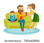 young caucasian white sick... | Shutterstock .eps vector #785660896