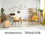 wooden box next to vintage... | Shutterstock . vector #785661538