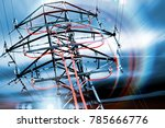 pylon. concept of electricity... | Shutterstock . vector #785666776