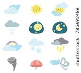 cute kawaii style weather icons   Shutterstock .eps vector #785692486