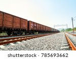 train cars are on the rails | Shutterstock . vector #785693662