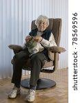 senior woman knitting vertical | Shutterstock . vector #78569596